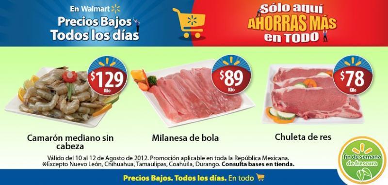 Fin de semana de frescura Walmart agosto 10: chuleta de res $78 y más