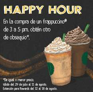 Starbucks: Happy Hour de 2x1 en bebidas de 3 a 5