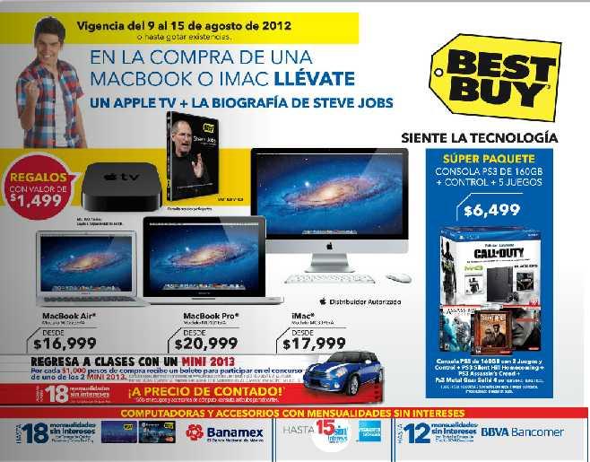 Folleto Best Buy agosto 9: gratis Apple TV o cafetera Nescafé DG con compra, 20% en equipos Nikon DSLR y más
