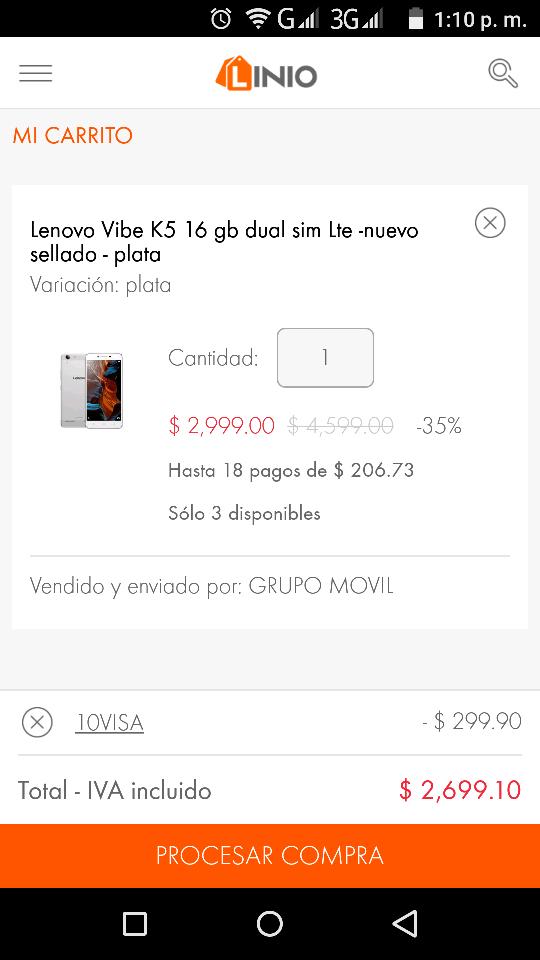 Linio: Lenovo K5 a solo $2,699 con cupon
