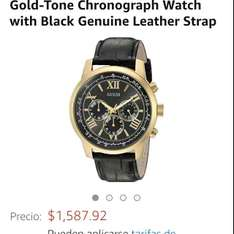 Amazon: GUESS Men's U0380G7 Classic Gold-Tone Chronograph Watch with Black Genuine Leather Strap a $1,588