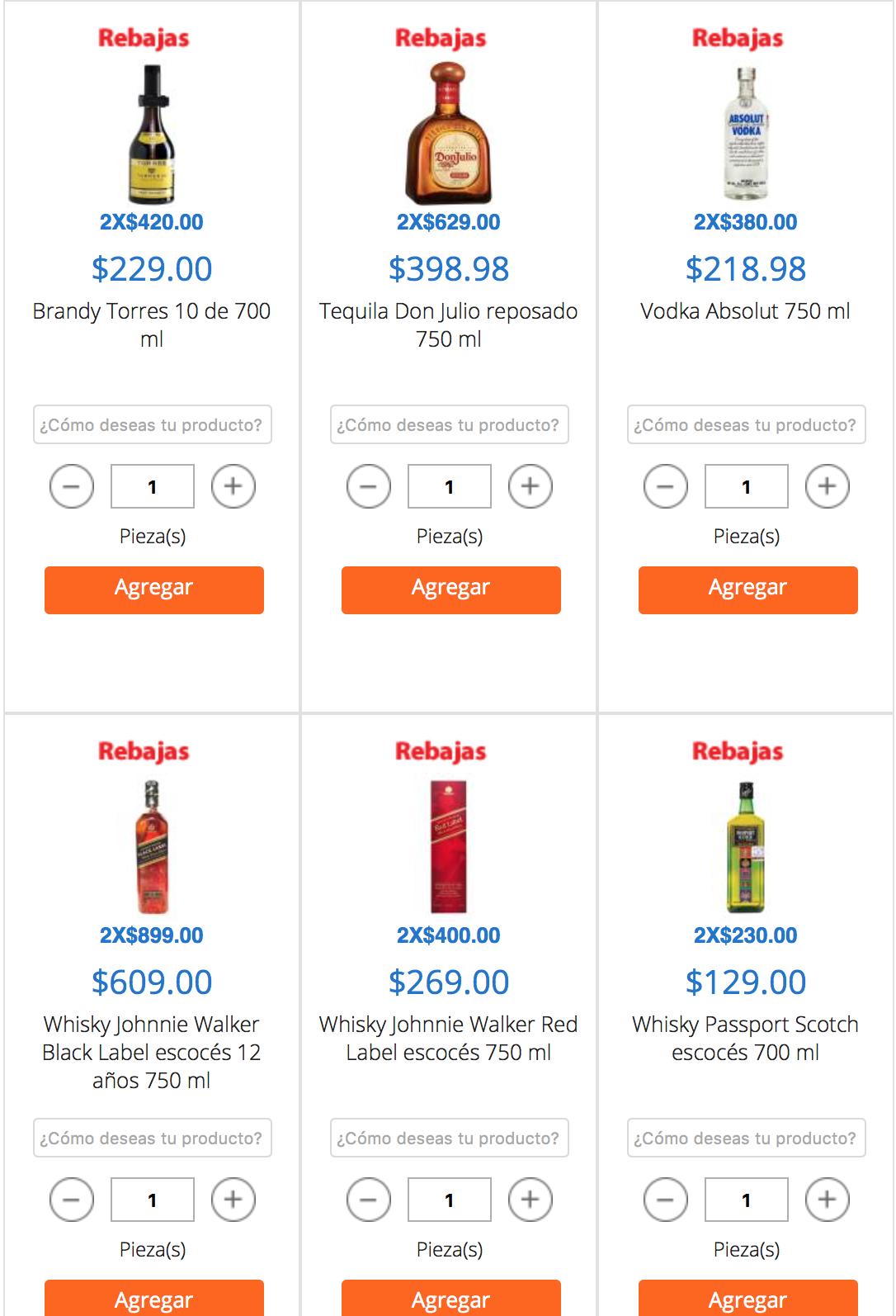 Walmart en línea: precio especial en botellas de licor llevando 2