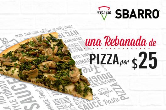 Sbarro: Rebanada de pizza a $25