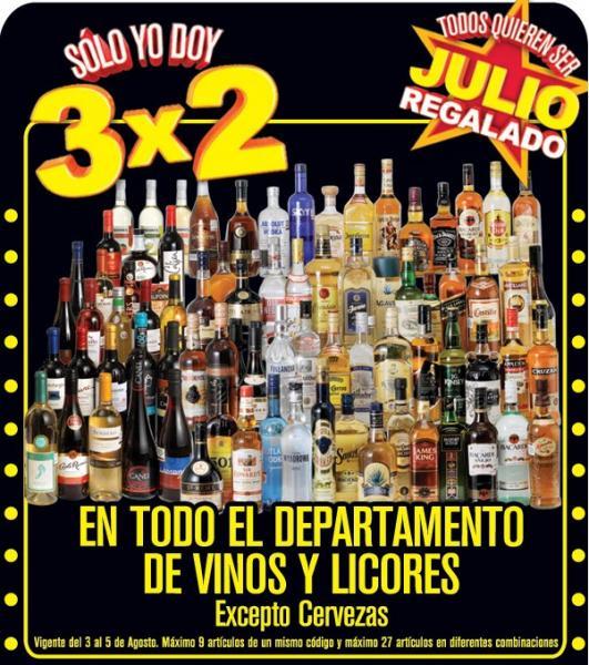 Julio Regalado agosto 3: 3x2 en vinos y licores