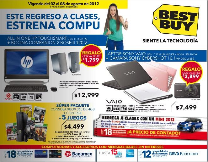 """Folleto Best Buy agosto 2: pantallas LED 40"""" desde $6,995, 30% de descuento en calculadoras y más"""