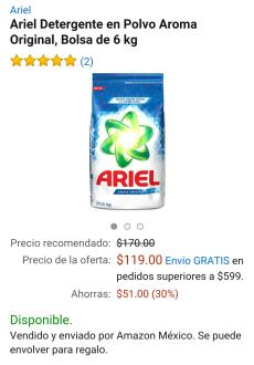 Amazon México: Detergente Ariel en polvo 6 Kg aroma original