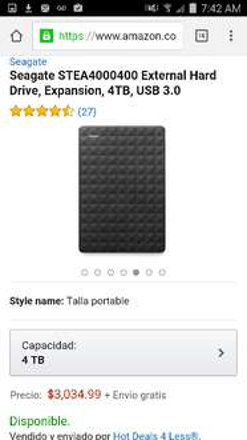Amazon: Seagate STEA4000400 External Hard Drive, Expansion, 4TB, USB 3.0 (Vendido y enviado por un tercero)