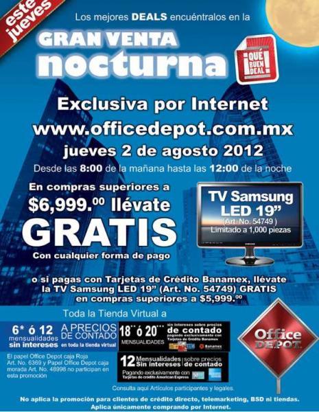 """Venta Nocturna 2 de agosto en Office Depot: gratis TV LED 19"""" con compra y más"""