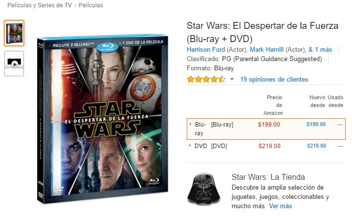 Amazon: Star Wars El Despertar de la Fuerza (Blu-ray + DVD) a $199