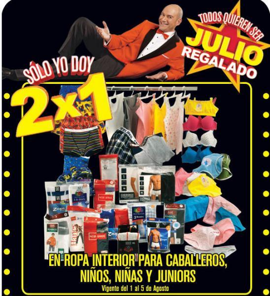 Julio Regalado agosto 1: 2x1 en toda la ropa interior