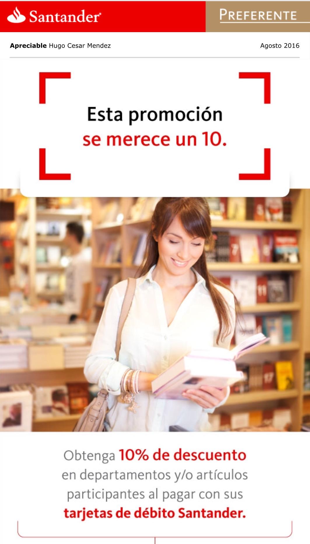 Sanborns: 10% de descuento tarjetas de débito Santander (tienda física) en departamentos participantes