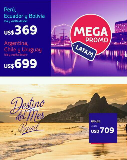 LATAM Airlines: Viajes redondos a Perú, Ecuador, Bolivia, Argentina, Chile, Uruguay y Brasil desde U$369