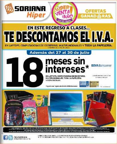 Folleto Soriana 07/27: 3x2 en ron Appleton y preservativos Durex, bonificación del IVA en papelería, computadoras y más