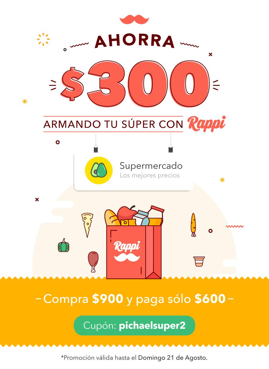 Rappi: Descuento de $300 pesos en $900 de super (Sobre precios regulares y tambien de oferta de Walmart.com)