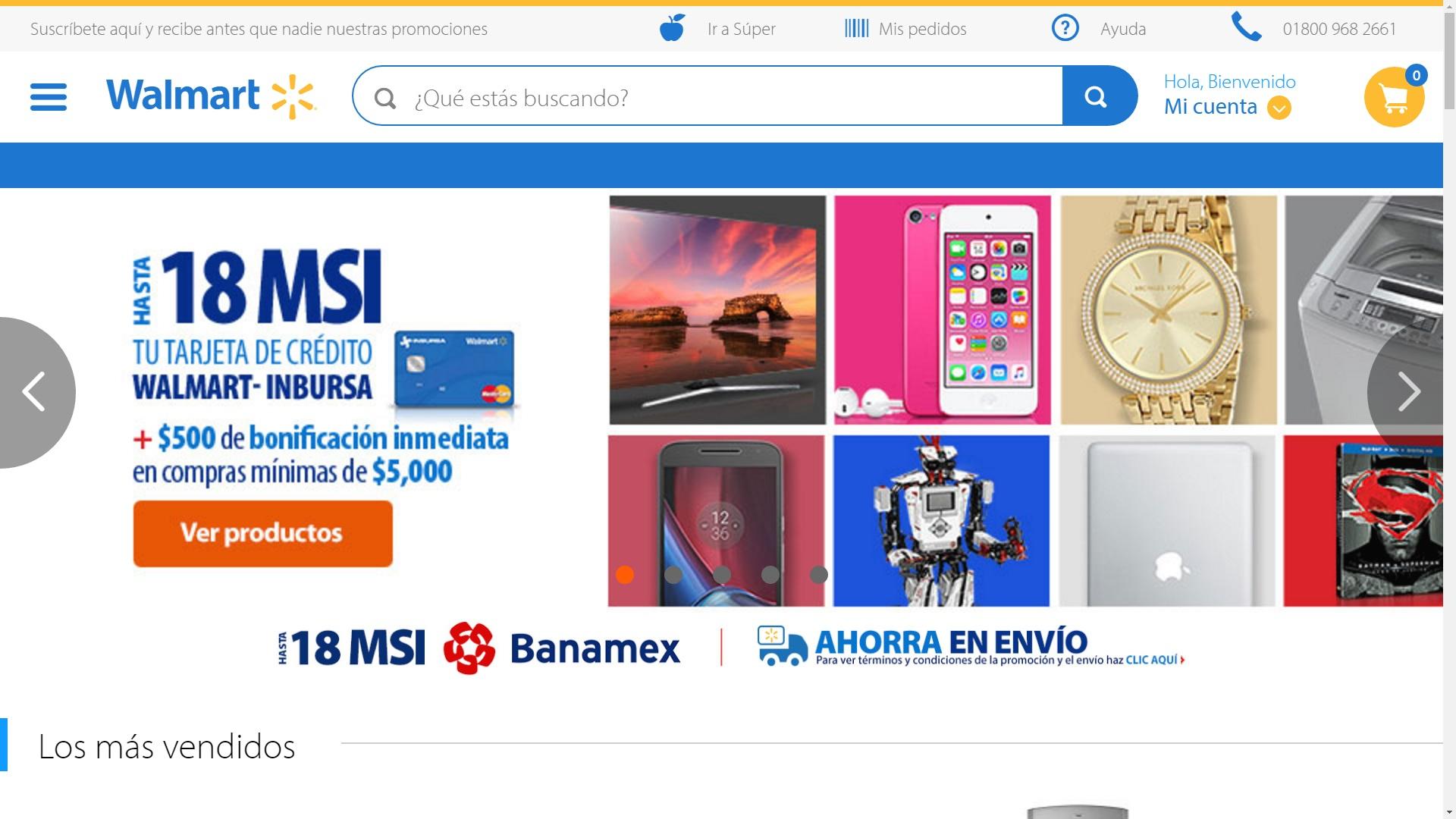 Walmart en línea: hasta 18 MSI + bonificación inmediata de $500 en compras mayores a $5,000 pagando con tu tarjeta de Crédito Walmart-Inbursa