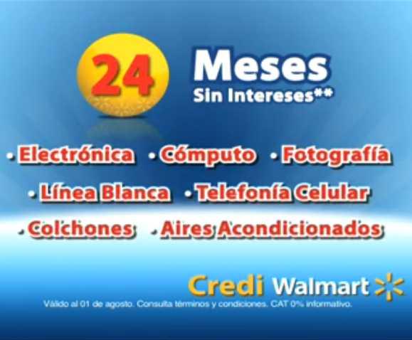 Walmart: 24 meses sin intereses en varias categorías con tarjetas participantes