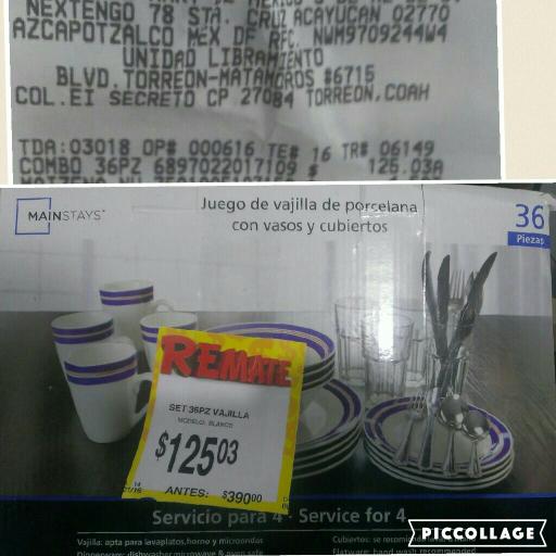 Bodega Aurrerá: vajilla de 36 piezas Mainstays a $125.03