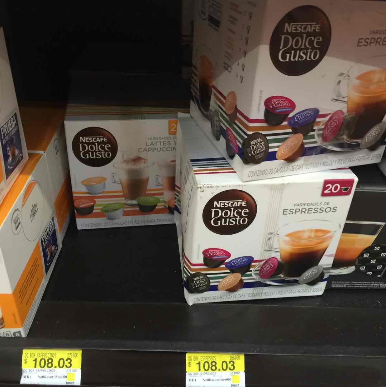 Walmart: Variedades de 20 cápsulas de Dolce Gusto $108.03
