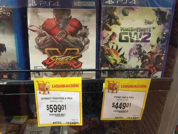 Walmart Chapultepec: Street Fighter V a $599.01 y PVZ GW 2 a $449.01 para PS4