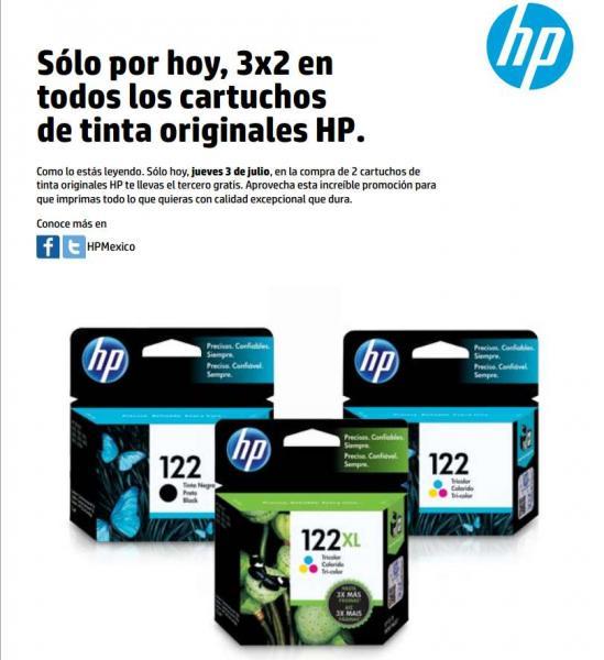 3x2 en cartucho HP (varias tiendas)