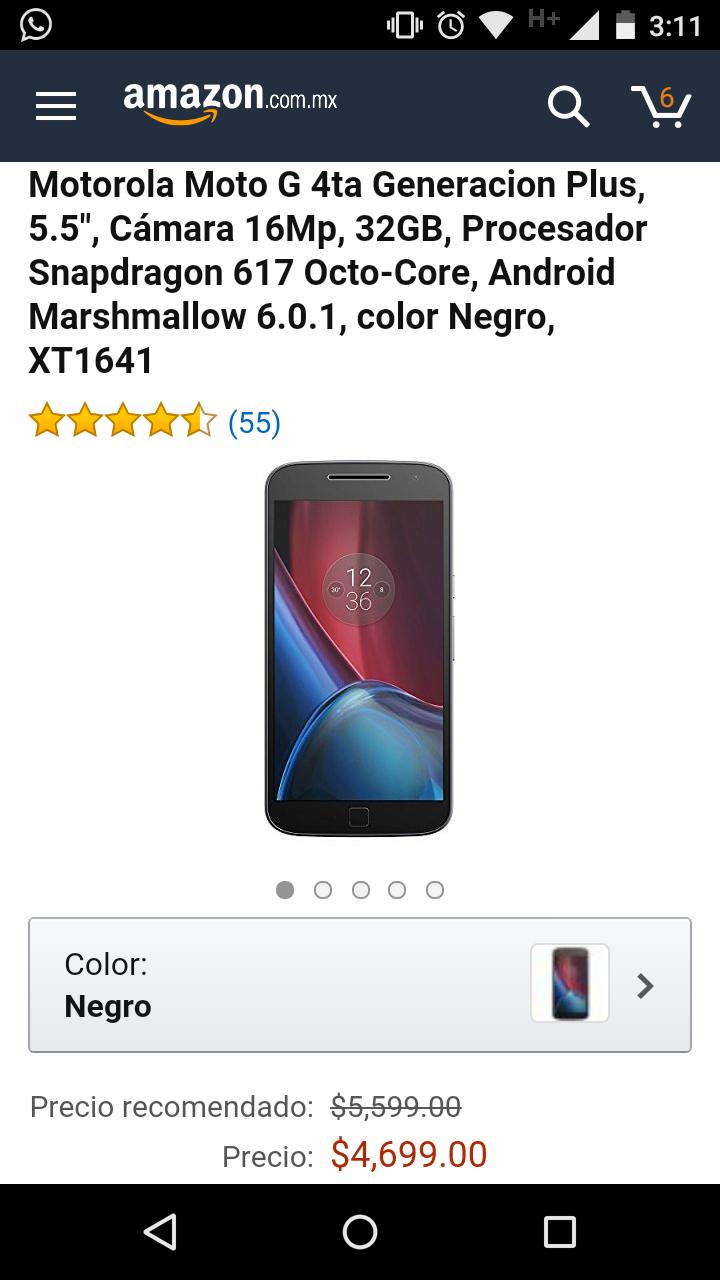 "Amazon: Motorola Moto G 4ta Generacion Plus, 5.5"", Cámara 16Mp, 32GB, Procesador Snapdragon 617 Octo-Core, Android Marshmallow 6.0.1, color Negro, XT1641"