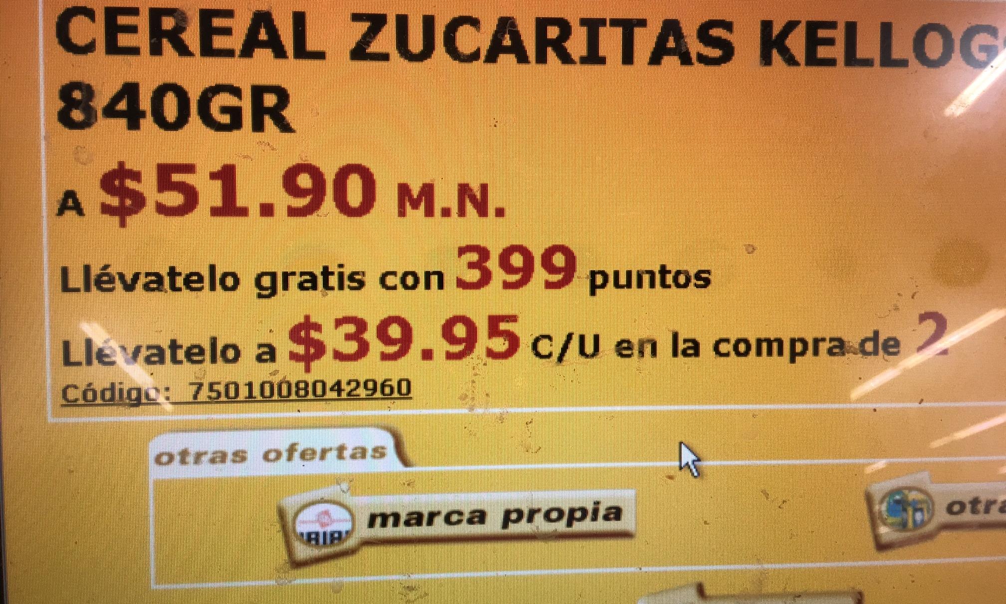 Soriana Hiper: Cereales Kellogs 840g 2 x $79