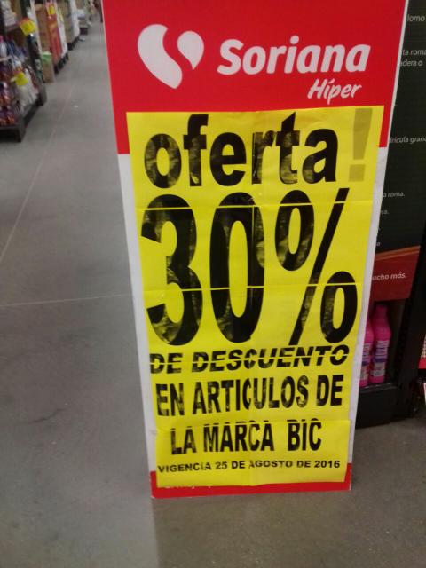 Soriana: 30% de descuento en artículos de la marca BIC