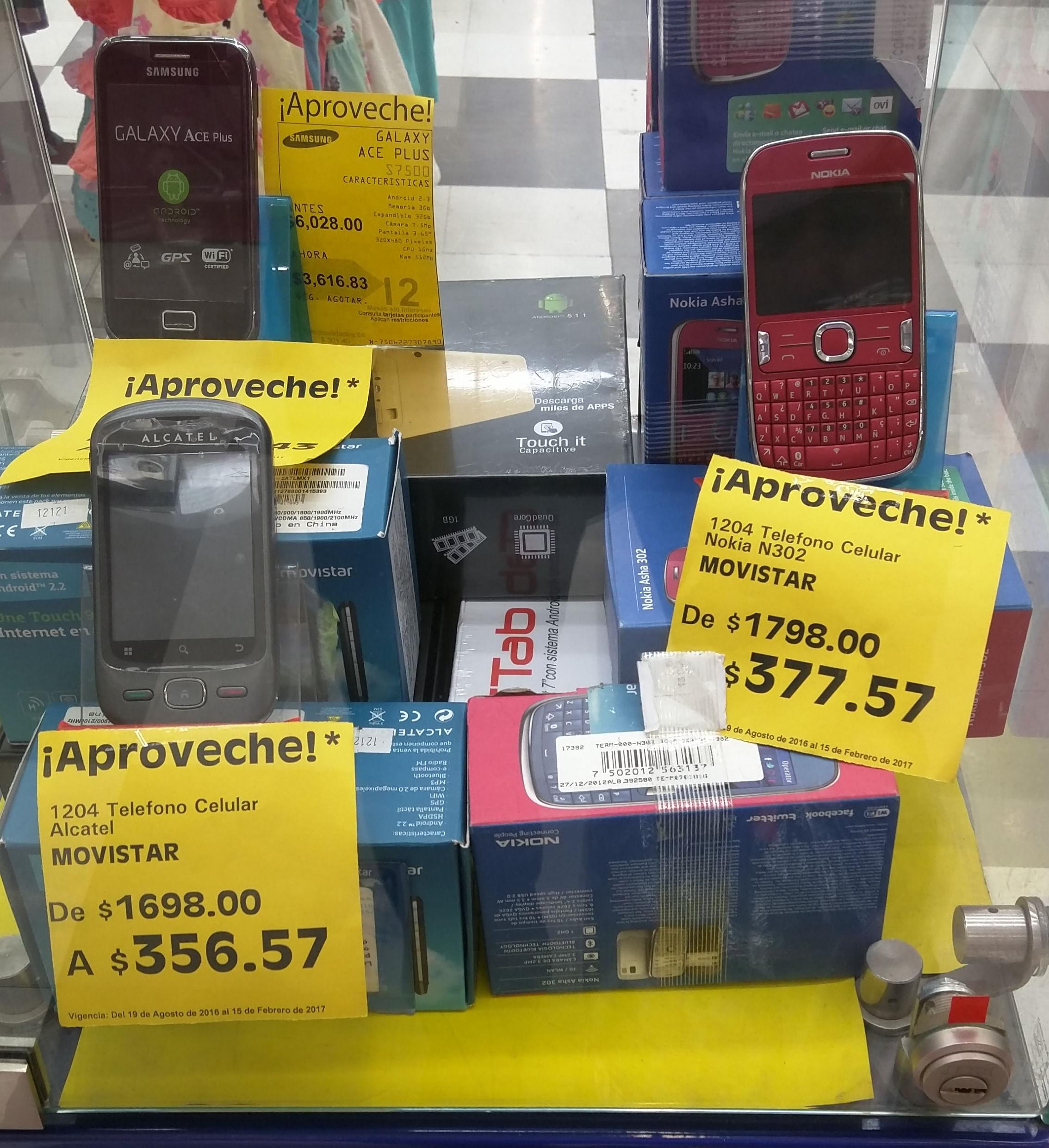 La Comer Pilares: Alcatel One Touch 906Y a $356.57 y Asha 302 de $1,798 a $377