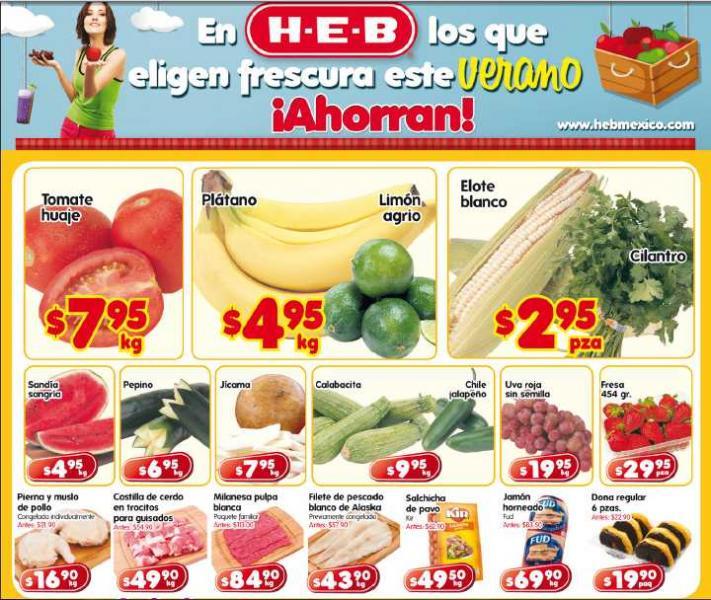 Frutas y verduras HEB: plátano $4.95, tomate $7.95 y más