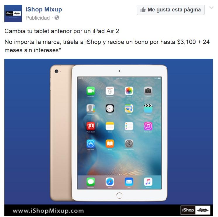 Ishop Bono al llevar tu tableta para la compra de una Ipad air 2 nueva