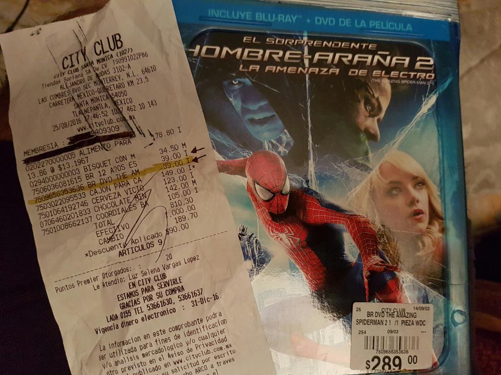 City Club: El Hombre Araña 2: La amenaza de Electro en Blu-Ray + DVD a $39