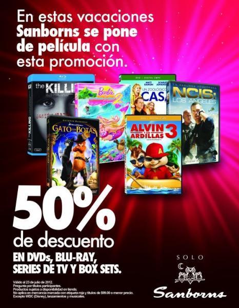 Sanborns: 50% de descuento en DVD's, Blu-ray y más