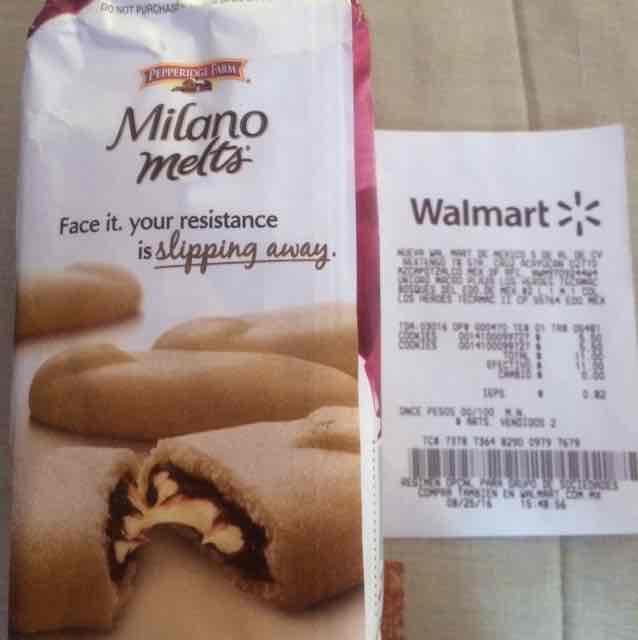 Walmart Los Héroes Tecamac: galletas importadas Milano Melts a $5.50
