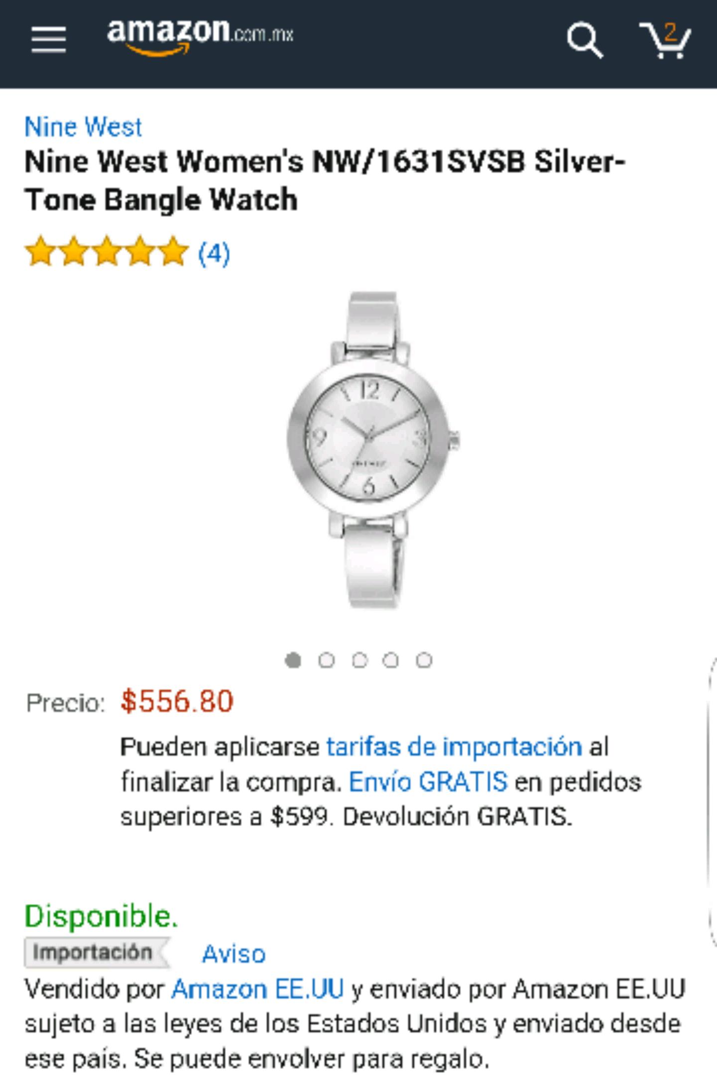 Amazon: Relojes Nine West mujer Varios modelos