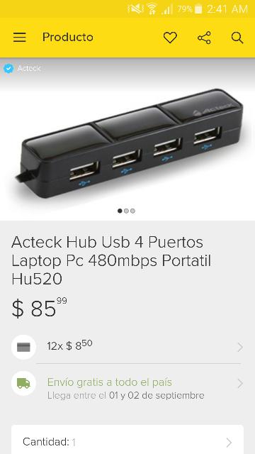 Acteck Tienda Oficial Mercado Libre: Hub Usb 4 Puertos a $85, Mouse Alambrico True Basix a $60