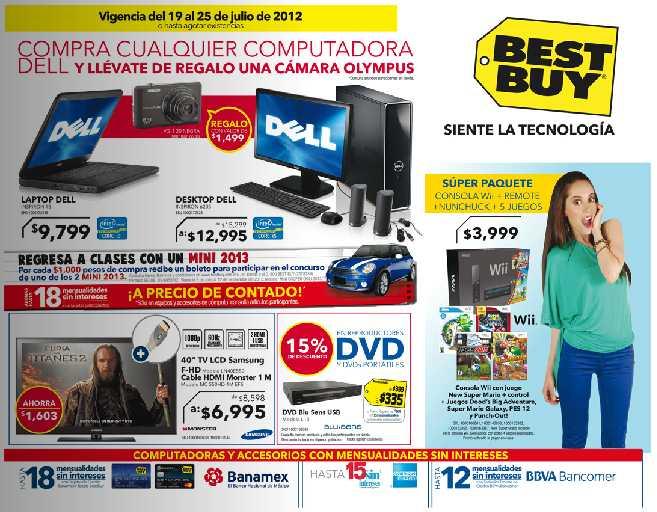 """Folleto Best Buy julio 19: pantalla 50"""" LG $7,995, bocinas Logitech gratis comprando compu y más"""