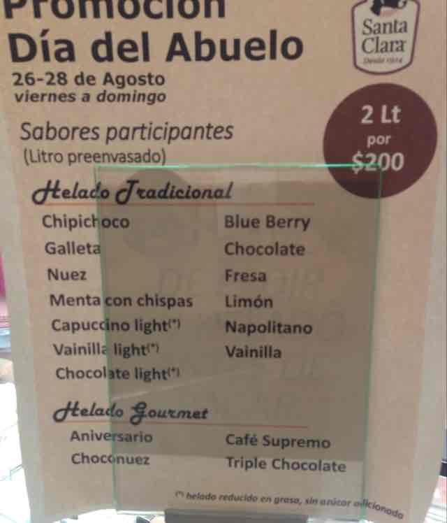 Santa Clara: 2 Lt de helado preenvasado por $200