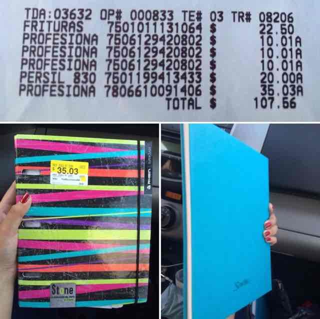 Walmart Comalcalco: Libreta pasta dura scribe de $99 a $10.01 y carpetita a $35.03