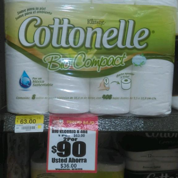 Walmart: Higiénico Cottonelle Bio Compact 8 Rollos