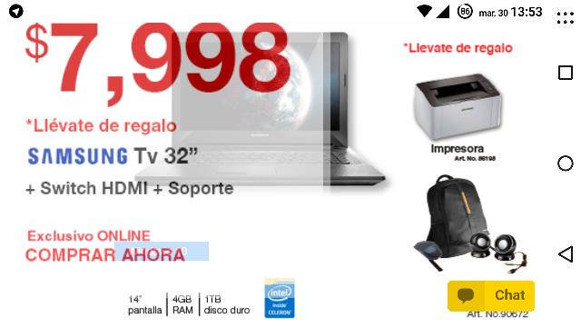 """Office Max: laptop más impresora más mochila más bocinas más Samsung 32"""" más switch hdmi más soporte por $7,998"""