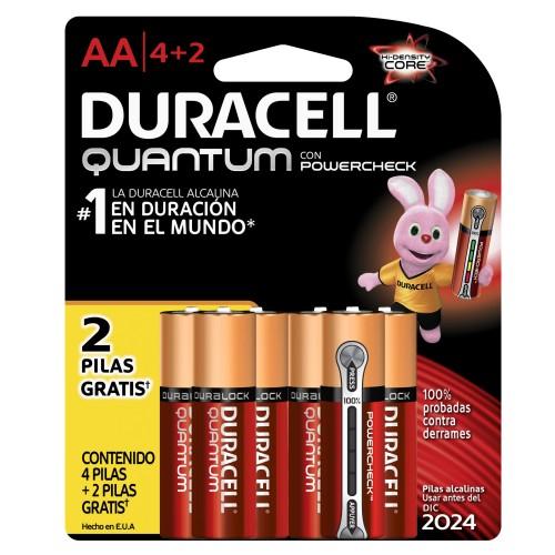 Chedraui en línea Metepec: Pilas Duracell Quantum  AA 4 + 2 a $37