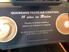Starbucks: Happy Hour por Aniversario 2x1 en tu bebida favorita de 3-7pm o 12:00 al cierre para Staburcks Rewards