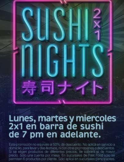 Sushiroll: 2x1 en barras de sushis de lunes a miércoles después de las 7