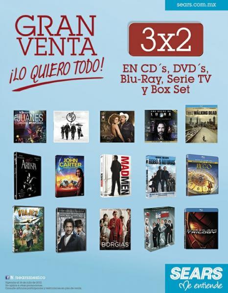 Sears: 3x2 en tarjetas iTunes, CDs y películas