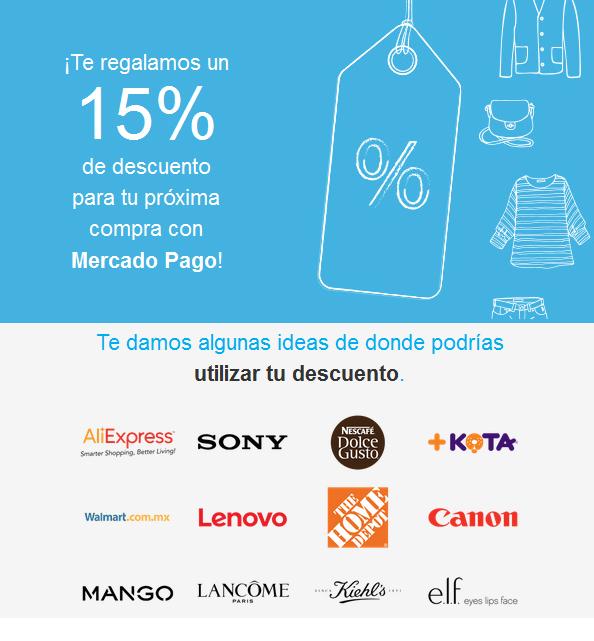 Mercado Pago: 15% de descuento en varios sitios
