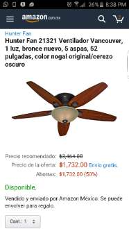 Amazon: Abanico de techo Hunter con 50%
