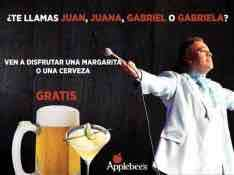 Applebee's MTY: Cerveza o Margarita gratis si te llamas Juan,Juana,Gabriel o Gabriela