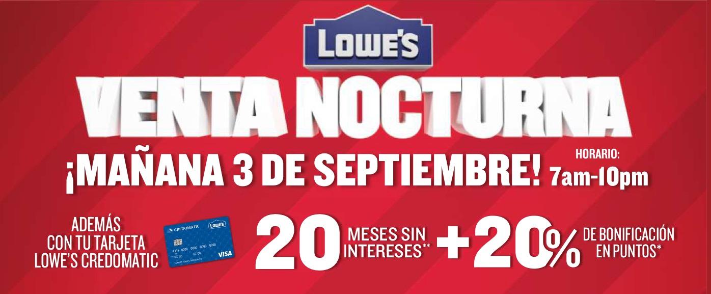 Lowe's: venta nocturna 3 de septiembre