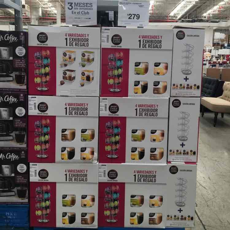 Sam's Club: Cápsulas Dolce Gusto con exhibidor, paquete de 4 cajas sabores variados