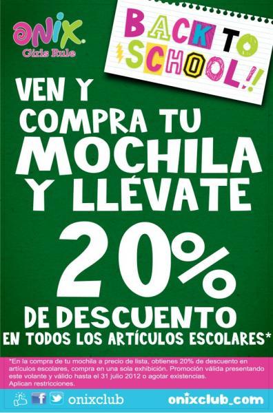 Onix: 20% de descuento en artículos escolares al comprar mochila